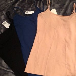 Forever 21-Black, Navy & pink camisole tanks, NWT